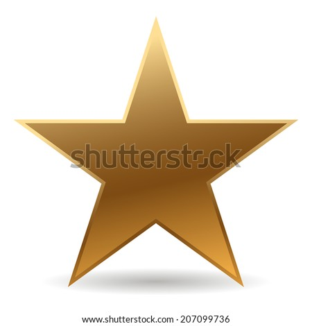 cool golden star with shadow - stock vector