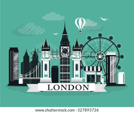 Cool graphic London city skyline poster with retro looking detailed design elements. Flat style landscape with landmarks. - stock vector