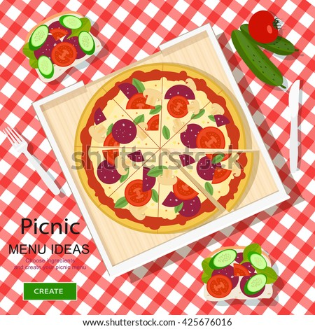 Cool graphic vector concept of picnic menu ideas for summer vacation. White checked cloth with pizza, sandwiches and vegetables. Flat style vector illustration. - stock vector