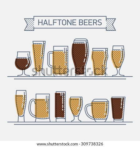 Cool halftone linear flat design vector beer glassware set | Various types of beer glasses. Ideal for bars, pubs and restaurants menu design, posters, labels and brewery insignia - stock vector
