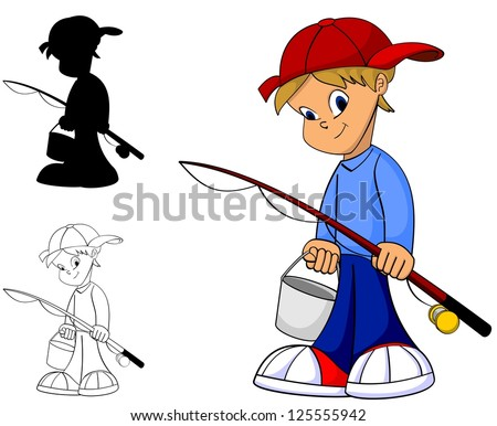 Cool happy kid with fishing rod in color, black and white and silhouette - stock vector