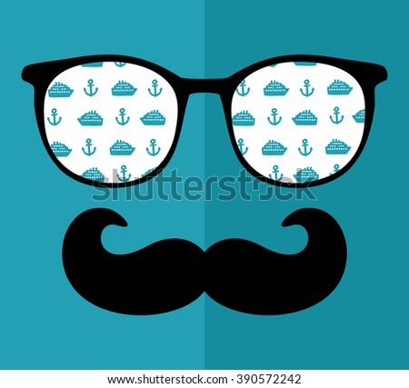 Cool hipster face print of man with sunglasses. Vector illustration of vintage person in glasses with pattern reflection in it. - stock vector