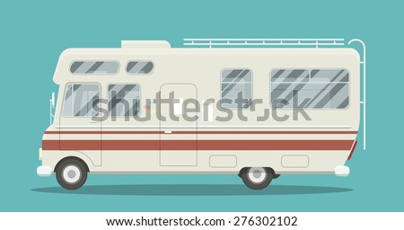 Cool illustration of a brand less camper side view. EPS10 vector image of an old motor home. - stock vector
