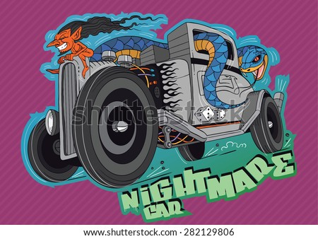 Cool illustration of a snake driving hot rod comic car