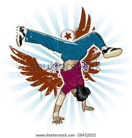 Cool image with breakdancer and street style attributes - stock vector