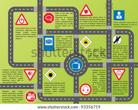 Cool info graphic with roads and stylish signs - stock vector