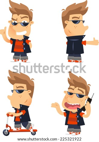 Cool kid action Set Ok skateboard scooter cellphone Cell Phone, vector illustration cartoon.  - stock vector