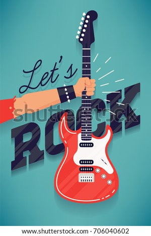 Cool 'Let's rock' vector concept with guitarist hand holding electric guitar and dynamic chunky lettering. Flat design rock music festival banner, flyer or poster template