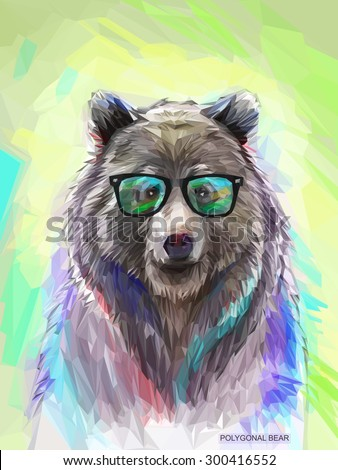 Cool low poly hipster animal, bear portrait. Background with wild animal. Low poly spectacled bear with fluffy fur. Vector illustration eps 10 - stock vector