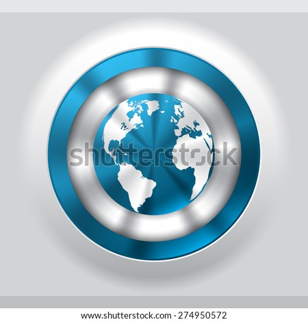 Cool metallic button in blue with globe - stock vector