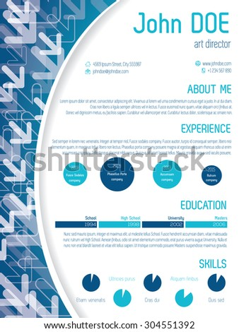 Cool modern cv curriculum vitae resume template design with arrows - stock vector