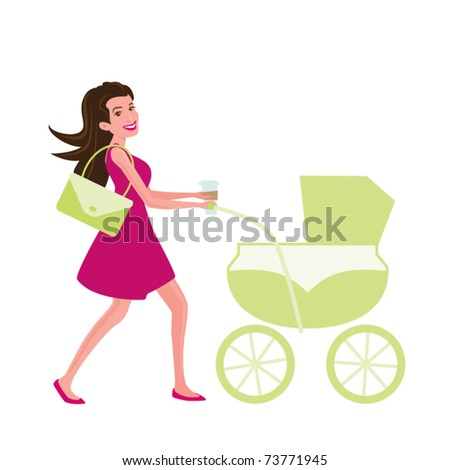 Cool Mom Pushing a Carriage - stock vector