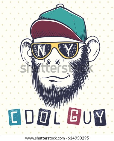 Cool monkey chimpanzee dressed in sunglasses and cap initials of city new york on eyeglasses