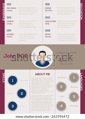 Cool new modern cv resume curriculum vitae template with circle elements - stock vector