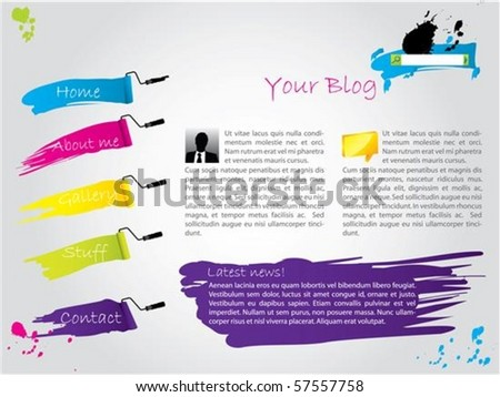 Cool painted website template design - stock vector