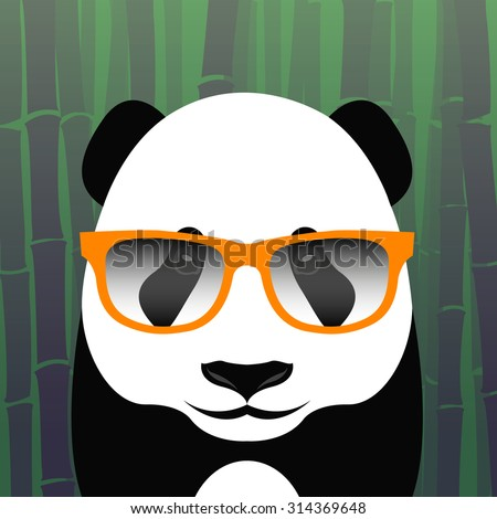 Cool Panda With Glasses On The Background Of Bamboo Animal Vector Template