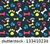 Cool pet background with dog paw prints and bones. Vector seamless texture. - stock vector