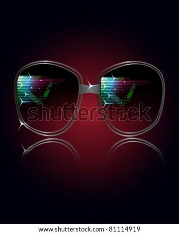 Cool Photo Realistic Black Sunglasses - stock vector