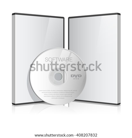 Cool Realistic Case for DVD Or CD Disk with Disk. Text, reflection and background on separate layers. Vector Illustration - stock vector