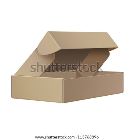 Cool Realistic Package Cardboard Box Opened. For Software, electronic device and other products. Vector illustration