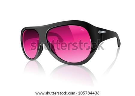 Cool Realistic Pink Plastic Black Sunglasses - stock vector