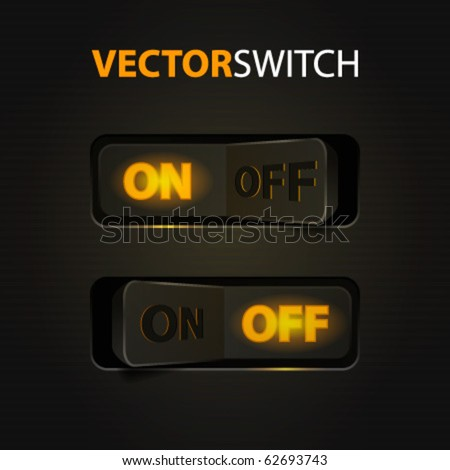 Cool Realistic Toggle Switch (ON/OFF). Vector illustration. - stock vector