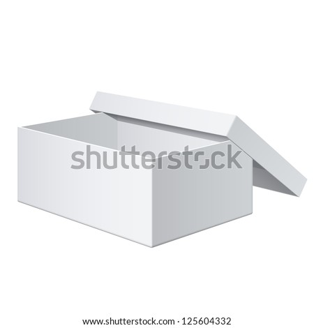 Cool Realistic White blank Package Box Opened with the cover removed. For shoes, electronic device and other products. Vector illustration - stock vector