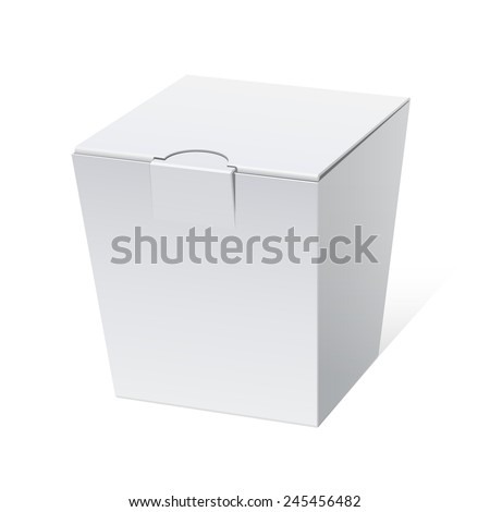 Cool Realistic White Package Cardboard Box Opened. Square shape. For Software, electronic device and other products. Vector illustration - stock vector