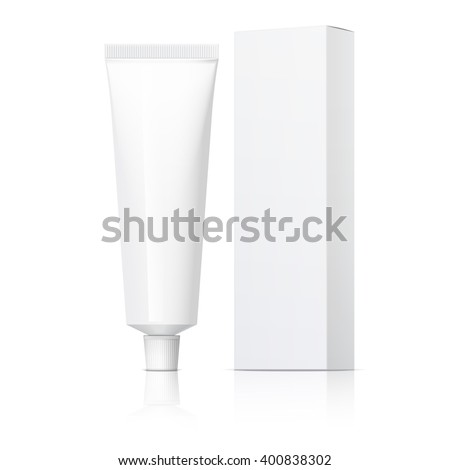 Cool Realistic white tube and packaging. For cosmetics, ointments, cream, tooth paste, glue Vector. Separate elements