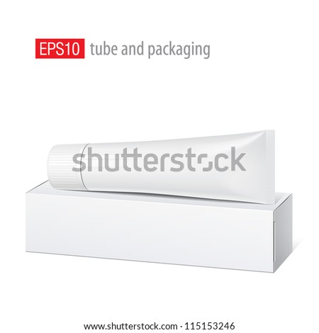 Cool Realistic white tube and packaging with wide cap. For cosmetics, ointments, cream, tooth paste, glue Vector. Separate elements - stock vector
