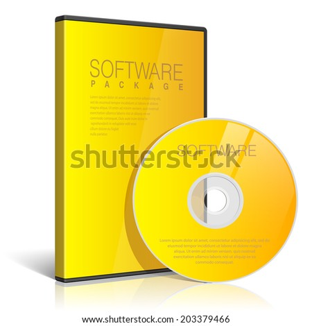 Cool Realistic yellow Case for DVD Or CD Disk with DVD Or CD Disk. Text, reflection and background on separate layers. Vector Illustration - stock vector