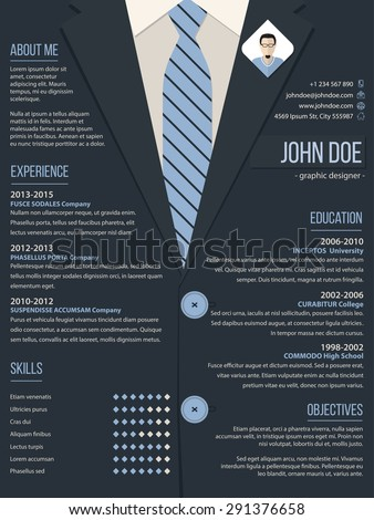 cool resume cv curriculum vitae template stock vector 291376658
