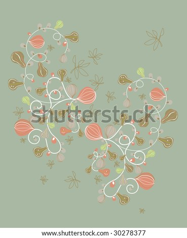 cool retro flora wallpaper design