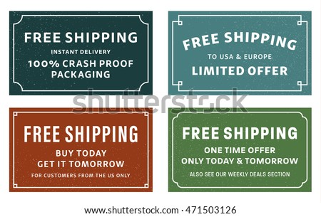 Cool retro free shipping coupons or banners. Four different typographic designs of free shipping advertisements. Nice small free delivery print ad. Old style pure letterpress design.