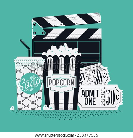 Cool retro looking detailed web or printable background design on movie entertainment with clapboard, soda beverage paper cup, popcorn paper bag and classic admit one cinema theater tickets - stock vector