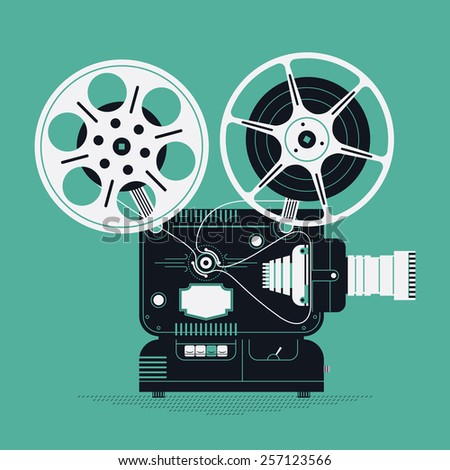 Cool retro movie projector vector detailed illustration | Analog device: cinema motion picture film projector with different film reels - stock vector