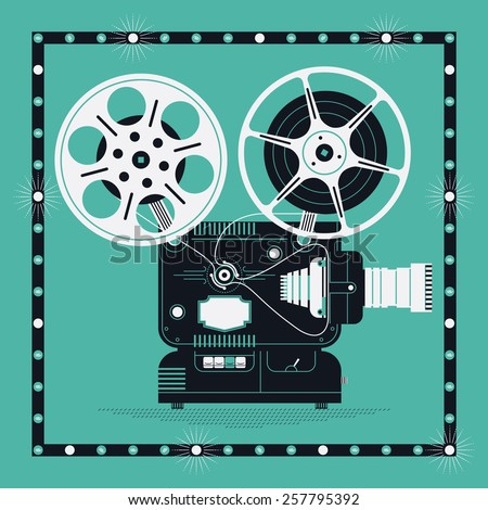 Cool retro movie projector vector detailed illustration | Analog device: cinema motion picture film projector with different film reels and marquee frame - stock vector
