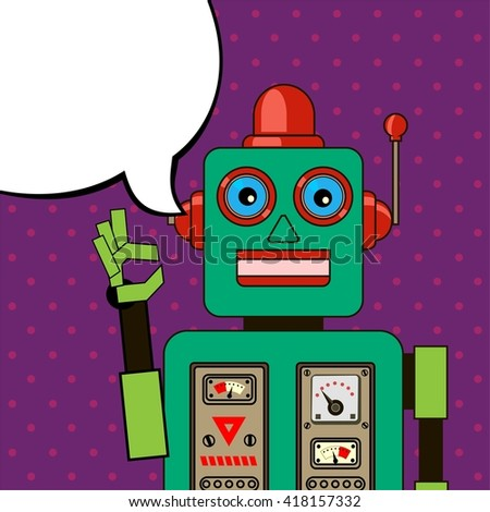 Cool Robot showing OK sign. Pop art poster. - stock vector