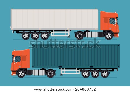Cool semi-trailer sleeper and flat nose trucks towing engine transport web icons or design elements, side view, isolated | Road freight transportation illustration - stock vector
