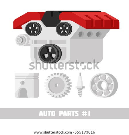 Cool set of auto pars icons. Internal combustion engine isolated on white background. 3d Flat vector illustration