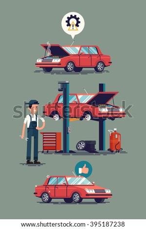 Cool Set Car Repair Shop Auto Stock-Vektorgrafik 395187238 ...