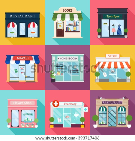Cool set of vector detailed flat design restaurants and shops facade icons. Facade icons. Ideal for business web publications and graphic design. Flat style vector illustration. - stock vector