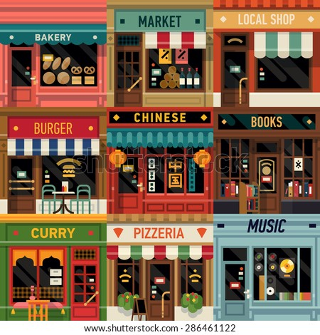 Cool set of vector detailed flat design restaurants and shops facade icons. Ideal for restaurant business web publications and graphic design  - stock vector
