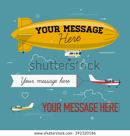 Cool set of vector planes pulling banners and helium ad blimp airship. Modern flat concept design on flying advertising banners and blimps. Ideal for web banners and printable materials - stock vector