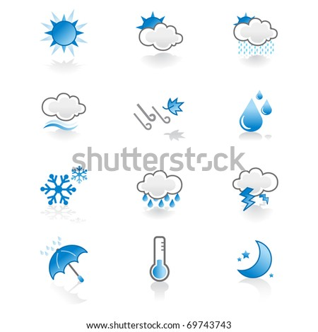 cool, simple weather icon set - stock vector