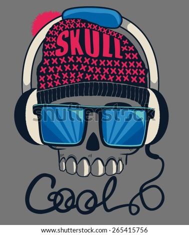 cool skull design for tee - stock vector