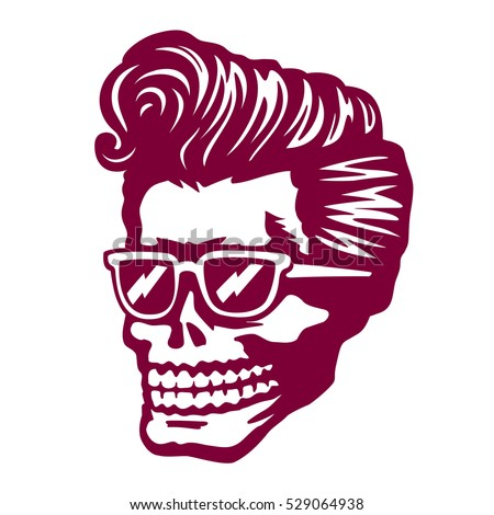 Cool skull zombie head with rockabilly pomp hairstyle and sunglasses tattoo t shirt or