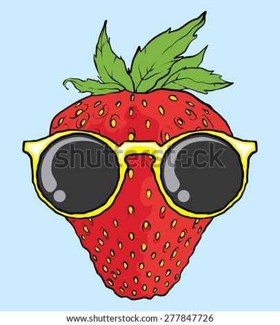 cool strawberry with sunglasses vector illustration - stock vector