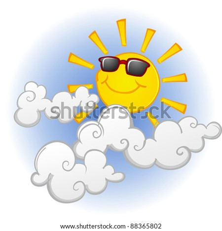 Cool Sun Cartoon Character in the Clouds - stock vector