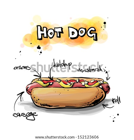 Cool tasty hot dog. Sketch + watercolor style. Vector illustration. - stock vector